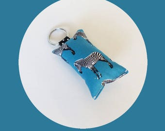 Key fob in blue and black zebra pattern fabric