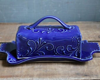 Butter Dish, Cobalt Blue, handmade ceramic, lidded, Mothers Day gift, present, Made to Order