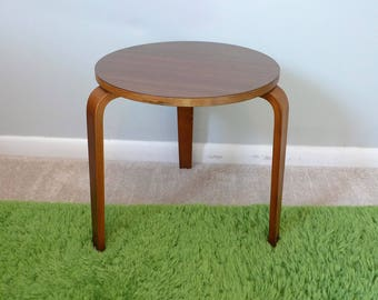 Mid Century Bentwood Tripod Table Alvar Aalto Style Vintage Low Stacking Stool Table with Ply Legs & Stacking stools | Etsy islam-shia.org