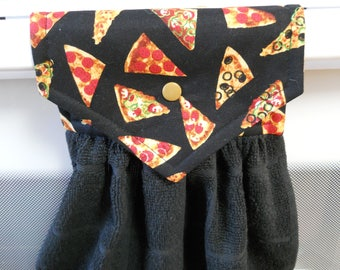 PIZZAS adorn this lovely  hanging black kitchen towel.