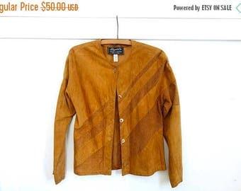 ON SALE Vintage Camel Brown Suede Jacket,Suede Blouse Avante Garde 80s Jacket