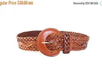 ON SALE Vintage Woven Leather Belt, Brown Braided Leather Belt, Women's Leather Belt