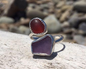 Pink and purple double sea glass ring adjustable size