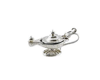 Sterling Silver Opening Aladin's Lamp Charm For Bracelets