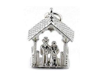 Sterling Silver Bride & Groom Under Church Gate Charm For Bracelets