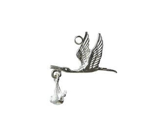Sterling Silver Moving Stork With Baby Charm For Bracelets