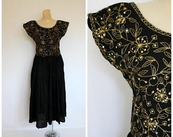 Sale Vintage India Dress Starina Black Gold Dress 70's Bohemian Dress Golden Sparkle Festival Dress Boho Black Party Dress Deadstock M