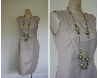 Sale Vintage Dress / 1980's Dress / Leather Panel Dress / Wiggle Dress / Taupe Leather Dress S/M