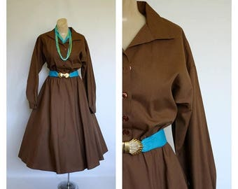Sale 1980s American Shirt Dress / Cocoa Brown Swing Skirt Dress / Long Sleeve Shirt Dress / Vintage Shirtwaist Dress M