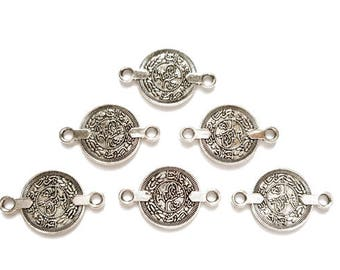 6 Silver Tughra Coin Connectors - 21-8-3