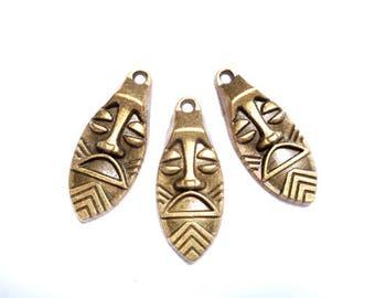 3 Antique Bronze Tribal Masks - 23-29-1