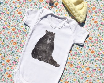 Brown bear baby vest | Size 3 - 6 Months | 100% cotton | Short sleeved | Super soft | Lino printed |