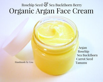 Organic Face Cream - Natural Face Moisturizer - Facial Cream - Day Cream - Wrinkle Cream - Eye Cream - Argan Cream - Dry & Aging Skin - 1 oz