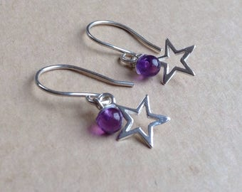 Star Dangle Earrings, Star Earrings, Amethyst Dangle Earrings, Amethyst Earrings, Drop Earrings, Dangle Earrings, Open Star Earrings