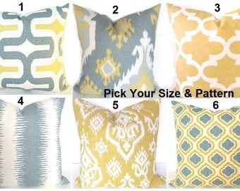 GREY PILLOWS Gray Pillows Yellow Pillow Covers Gold Pillows Grey Throw Pillow Cover 16x16 18 20 .All Sizes. Sale Euro Sham Home and Living