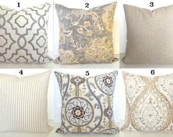 GRAY PILLOWS GREY Throw Pillow Covers Tan Pillows Grey Decorative Throw Pillow Covers Tan & Grey Pillows 16 18x18 20 .All Sizes. Home Decor