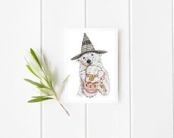 Bear and hat Card, Bear card, greeting card, blank card, Bear greeting card, Bear blank card, Bear illustration, Bear painting, bear art