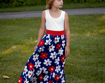 Flower Maxi Red White Blue Maxi Dress Patriotic Maxi Dress July 4th Maxi Dress Fourth of July Maxi Toddler Maxi  2T 3T 4T 5  6 6X 7 8 10 12