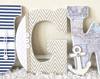 Custom Wooden Nursery Letters -Nautical theme- Baby Boy Nursery Decor- Personalized Name- any color, theme, bedding- The Rugged Pearl