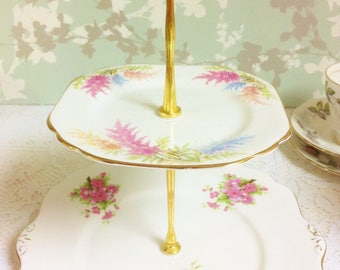 Vintage Pink 2 Tier  Cake Stand
