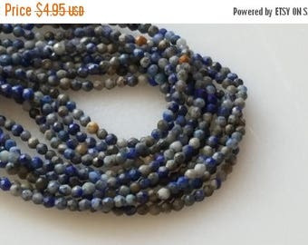 """SAVE 20% SAT & SUN 1-16"""" Strand Natural Sodalite Faceted 2-2.5mm Round Beads"""