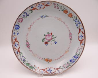 Antique Chinese Soft Paste Porcelain Hand Painted Pink Rose Serving Bowl or Plate
