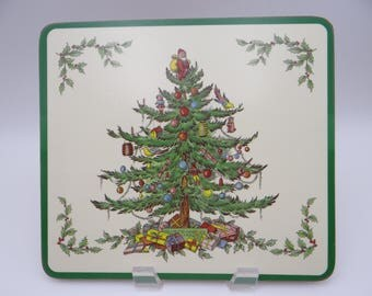 set of 4 spode made in england christmas tree square cork hardback place mats in original