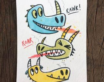 Dragons ORIGINAL watercolor and pencil drawings