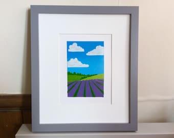 Lavender Field Linoprint