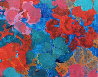 SOLD - Bright Floral Abstract Modern Art Painting Canvas Small Wall Hanging Red Pink Blue Turquoise Colorful Original