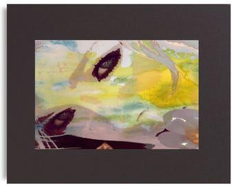 LEMON GIRL Original Mixed Media Digital Artwork Limited Edition Numbered PRINT Matted Yellow Modern Pop Art Watercolor Painting