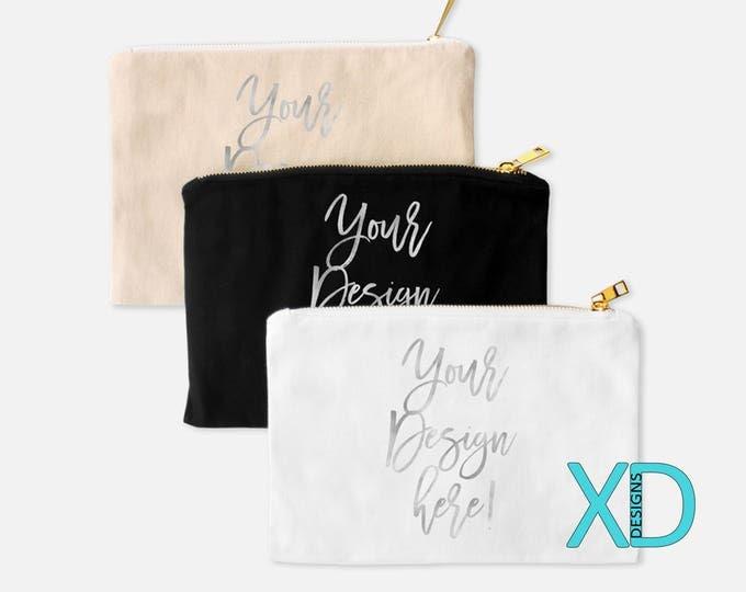 Custom Foil Text Cosmetic Bag, Silver Or Gold Foil Text, Custom Makeup Case, Custom Cosmetic Case, Personalized Cosmetic Bag, Monogram Bag