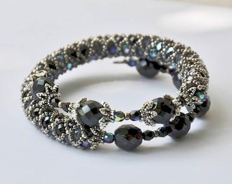 Snake bracelet - black and silver - art deco