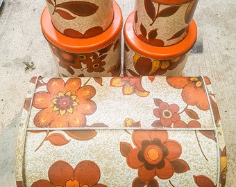 Willow Canisters (set of four) and matching Bread Bin 1960s Orange Flowers