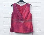 Hippie Tank Tie Dye Top Womens to fit UK size 10 or US size 6 Embroidered Top Festival Bohemian Clothing