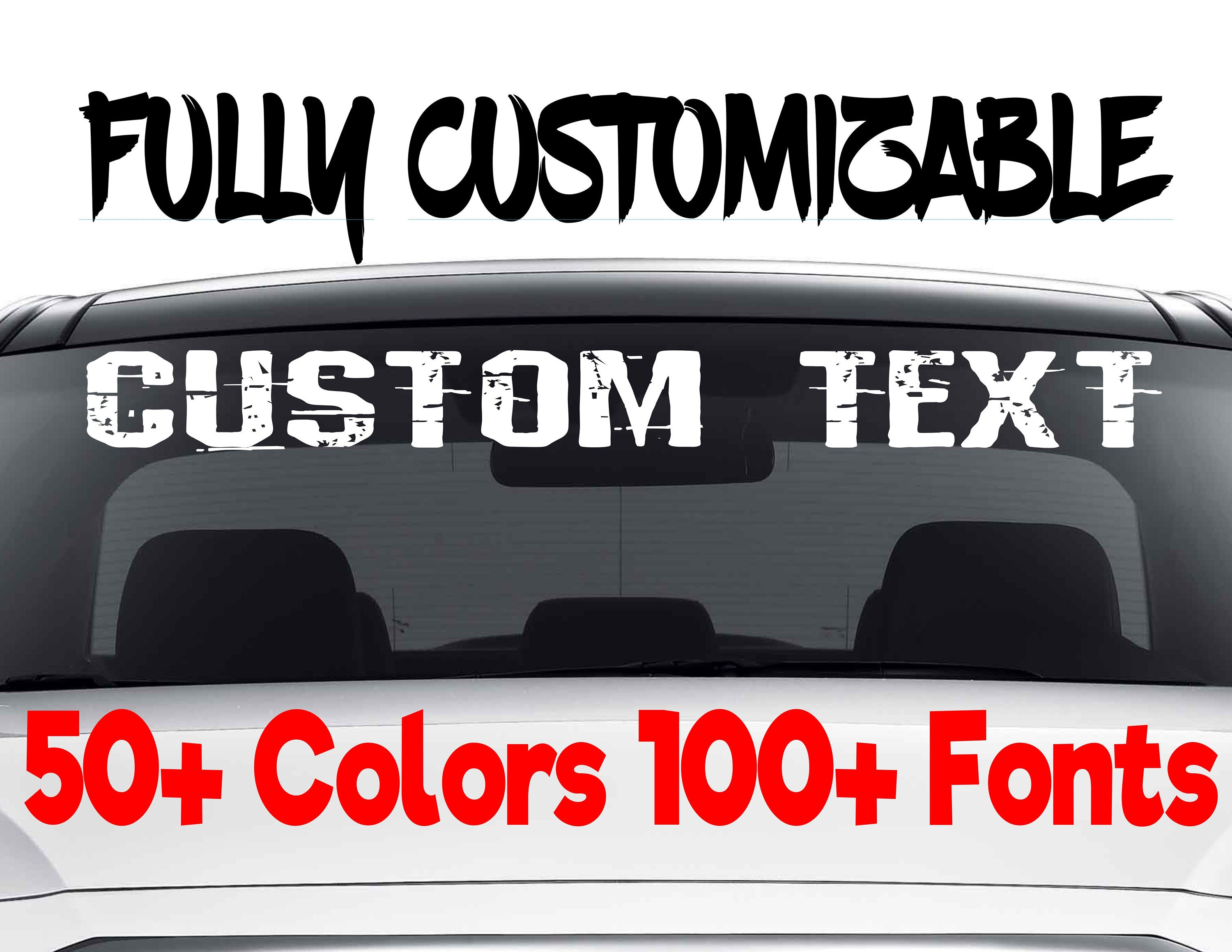 Custom Windshield Decals Word And Number Car Truck Window - Car windshield decals customcustom window decals