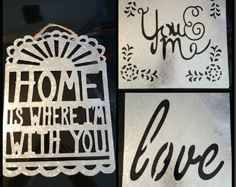 """SALE! Save 50% Laser Cut Metal """"You & Me""""  """"Home is where I'm with you"""" """"Love Wall Plaque/ Sign DMB Dave Matthews Band Song Lyrics"""