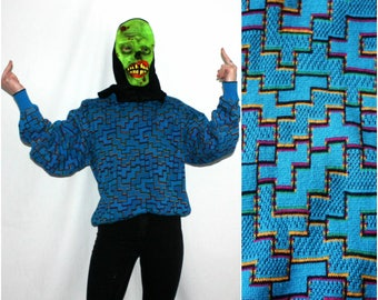 Vintage 80s Funky Blue Abstract Bloomingdales Sweater. Vintage Geometric Abstract Bright Blue Womens Cute 80s Funky Fresh Dope Sweater