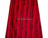 Red Tribal Print by the Yard , mud cloth Print , Tribal Print /  African Textiles (91.44cm)  WP393B