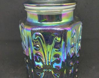 """Iridescent Blue Imperial Glass Atterbury Scroll 9.5"""" Canister Apothecary Jar"""