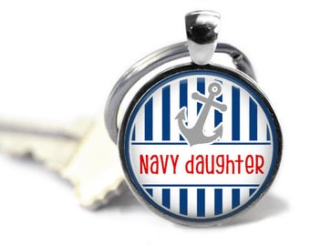Navy key chain - Navy daughter - United States Navy - US Navy gifts - My dad is my hero - My dad wears combat boots - In the navy - USN