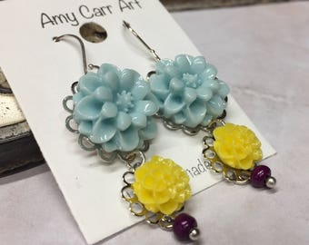 Light Blue Yellow and Purple Flower Dangle Earrings