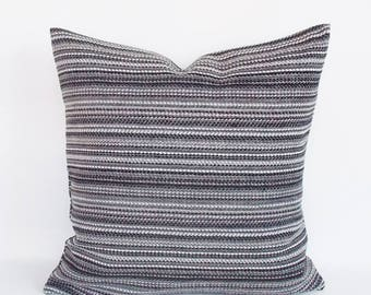 Decorative Striped Velvet Coton Pillow Cover, Gray White Pillow Cover, Velvet for Couch Pillow