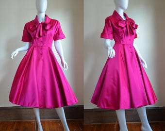 1950s Norman Norell Stellar Shocking Pink Silk Satin Dress