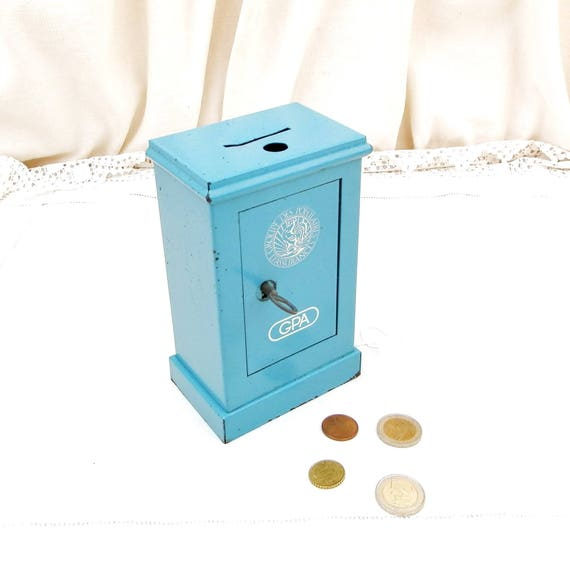 """Vintage French Replica Blue Metal Cash Safe """" Coffre Fort"""" Coin Bank / Still Bank/ Piggy Bank, Money Box from France Promotional Gift GPA"""