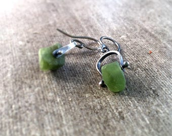 Emerald nugget-Unfurl Silver Earrings