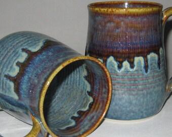 Limited Edition Pottery Mug, XL 20 oz Concho Blue, Handmade, Microwave Dishwasher Safe