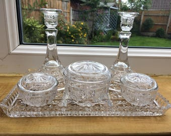 Dressing Table Set - Vanity Set - Vintage Bedroom Decor - Candlestick Holders - Glass Vintage Decor - Christmas Gift