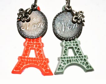 Lis flower necklace- Unique Paris necklace- word medallion necklace- Eiffel tower jewelry- gift for her