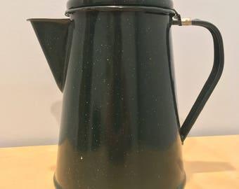Green Enamel Coffee Pot/Percolator
